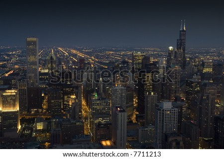 Downtown Chicago at night from up high in landscape orientation