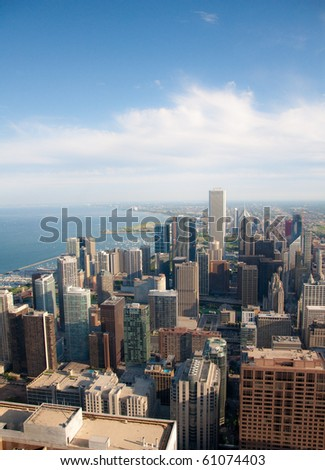 Downtown Chicago buildings viewed from above during sundown - stock photo