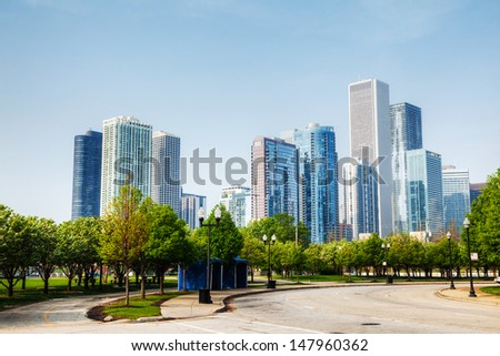 Downtown Chicago cityscape early in the morning - stock photo