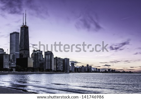 Downtown Chicago Magnificent Mile by dusk - stock photo