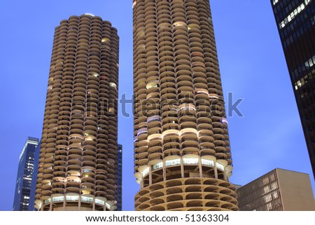 Downtown Chicago - Marina Towers - stock photo