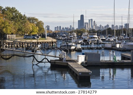 Downtown Chicago seen from north side - stock photo