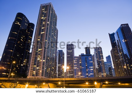Downtown Chicago seen from the Lake side - sunset time. - stock photo