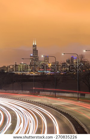Downtown Chicago Skyline and a highway  - stock photo