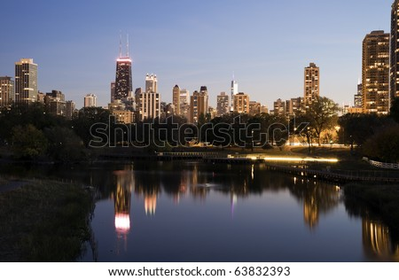 Downtown Chicago skyline from Lincoln Park - stock photo