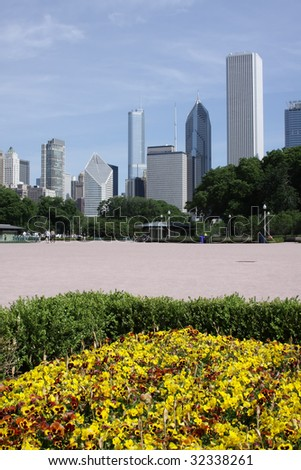 Downtown Chicago viewed from the  Buckingham Fountain area - stock photo