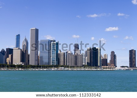 Downtown Chicago With Blue Sky - stock photo