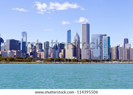 Downtown Chicago With Blue Sky
