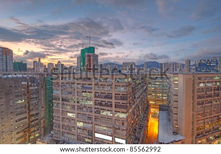 downtown city and old building in sunset