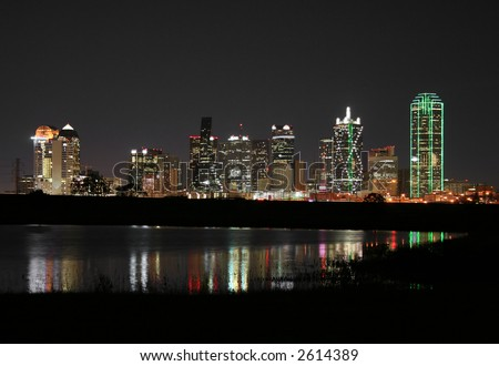 Downtown Dallas, Texas at night. - stock photo