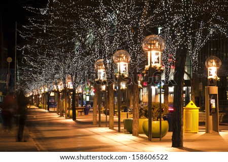 Downtown Denver at Christmas. 16th Street Mall lit up for the holidays.