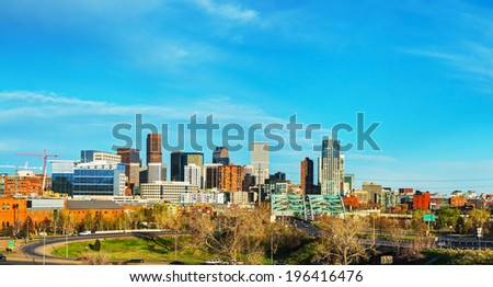 Downtown Denver cityscape panorama on a sunny day - stock photo