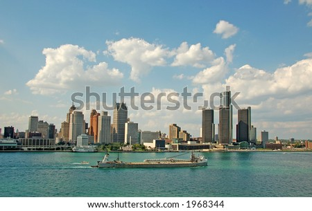 Downtown Detroit waterfront panorama daytime - stock photo