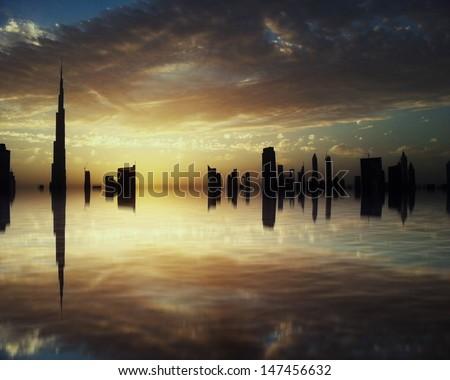Downtown Dubai skyline reflection - stock photo