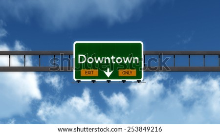 Downtown Exit Only Highway Road Sign Concept 3D Illustration - stock photo