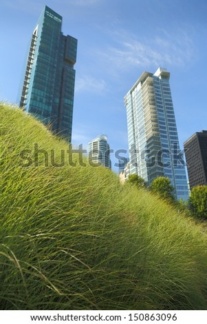 Downtown Green Roof, Vancouver. A portion of the new Vancouver Convention Center environmentally friendly, lush, 6 acre green roof. ATTN REVIEWER: See an Admin about this batch (re:case #00456576 - stock photo