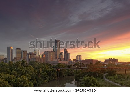Downtown Houston from US 59 - stock photo