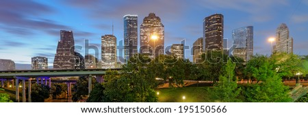 Downtown Houston Panorama from Sabine Street Bridge - stock photo