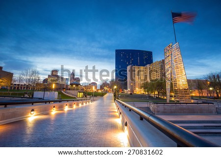 Downtown Indianapolis skyline at twilight - stock photo