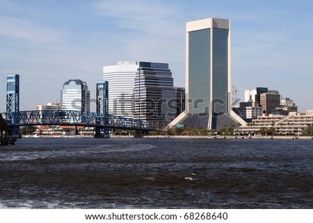 Downtown Jacksonville, Florida along the St. Johns River - stock photo