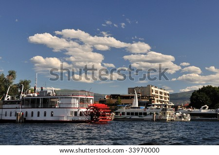 Downtown Kelowna waterfront marina - stock photo