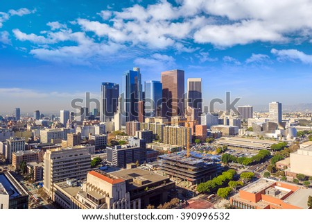 Downtown LA Los Angeles skyline cityscape California - stock photo