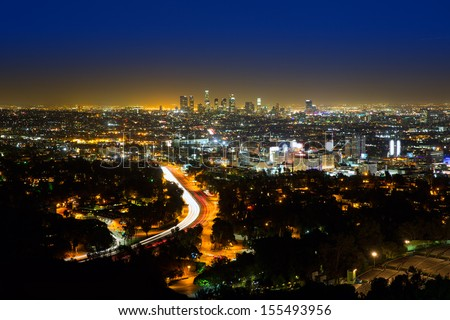 Downtown LA night Los Angeles sunset skyline California from high view - stock photo