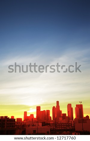 Downtown Los Angeles cityscape at sunset - stock photo