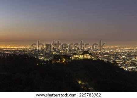 Downtown Los Angeles dusk from Mt Hollywood in Griffith Park. - stock photo