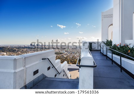 Downtown Los Angeles in the afternoon sun as seen from the side of the Griffith Observatory - stock photo