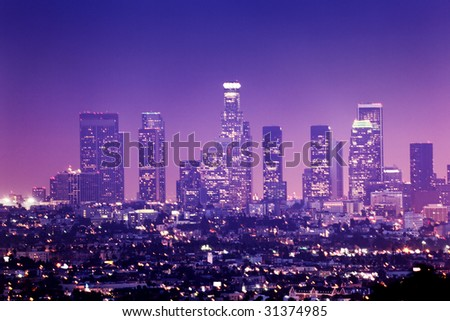 Downtown Los Angeles skyline at night, California, USA - stock photo