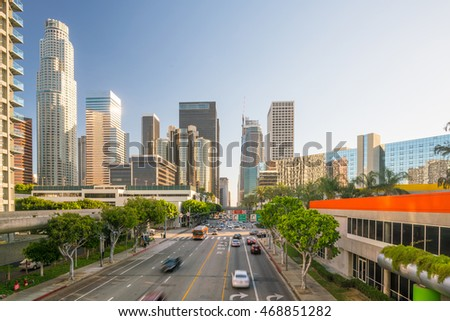 Downtown Los Angeles skyline with blue sky