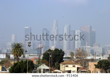 Downtown Los Angels California engulfed in Smog - stock photo