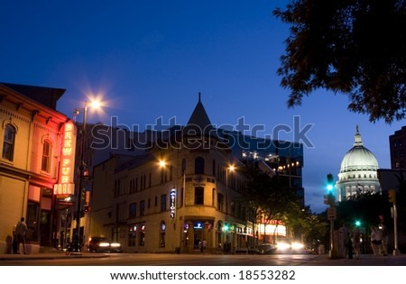 Downtown Madison evening scene - stock photo