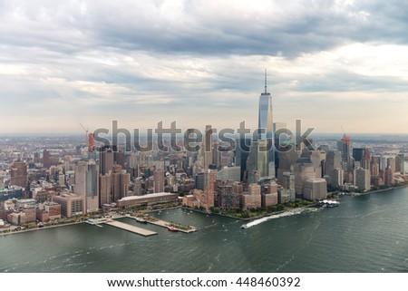 Downtown Manhattan, beautiful New York City skyline. - stock photo