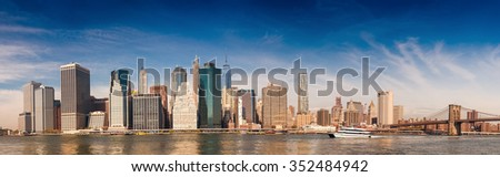 Downtown Manhattan over East river.