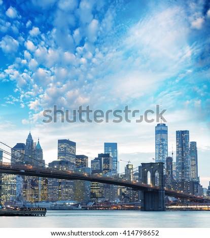 Downtown Manhattan skyline from Brooklyn, New York City - stock photo