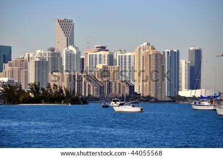 Downtown Miami from Virginia Key - stock photo