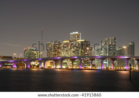 Downtown Miami illuminated at night, Florida USA - stock photo