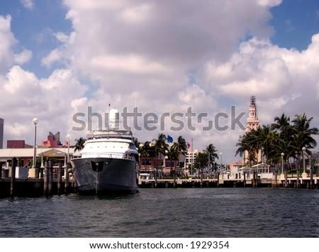 Downtown Miami piers - stock photo