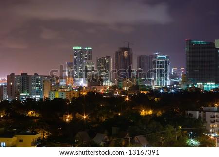 Downtown Miami Skyline at Night - stock photo