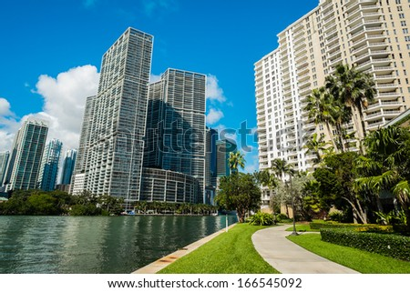 Downtown Miami view along Biscayne Bay from Brickell Key. - stock photo