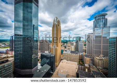 Downtown Minneapolis and surrounding urban - stock photo