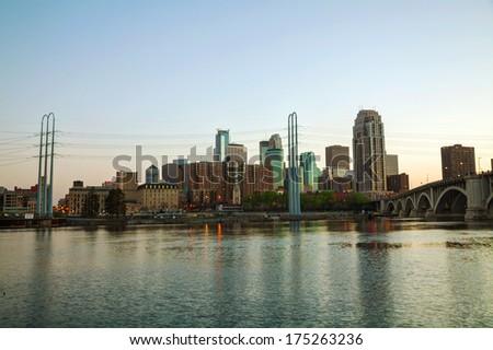 Downtown Minneapolis, Minnesota in the evening - stock photo