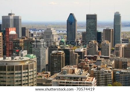 Downtown Montreal as viewed from a higher lookout - stock photo
