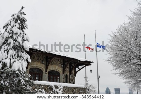Downtown Montreal as viewed on top of mont-royal in snow - stock photo