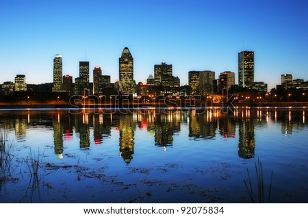 Downtown Montreal City at Sunset - stock photo