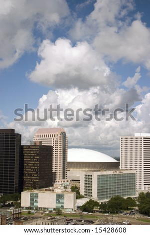 Downtown New Orleans and the SuperDome on a beautiful summer day - stock photo