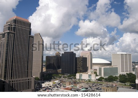 Downtown New Orleans and the SuperDome on a beautiful summer day