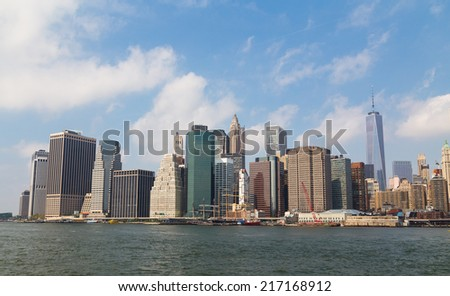 Downtown New York City Skyline during the day - stock photo